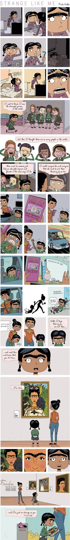 Frida Kahlo comic strip by Gavin Aung Than on Bored Panda. There are many more lie this including Eleanor Roosevelt, Maya Angelou, Vincent Van Gogh…