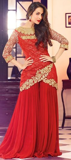 Salwar Kameez, Malaika Arora Khan Red Net Semi-Stitched Fancy Suit With Red Stitched Bottom Robe Anarkali, Pakistani Salwar Kameez, Pakistani Dresses, Indian Dresses, Indian Outfits, Lehenga, Anarkali Suits, Sharara Suit, Pakistani Suits