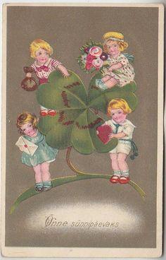 Õnnitlus; ristikulapsed; postkaart enne 1940