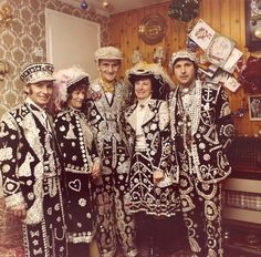Pearly Kings and Queens, known as pearlies, are an organized charitable tradition of working class culture in London, England. The practice of wearing clothes decorated with pearl buttons originated in the 19th century. It is first associated with Henry Croft, an orphan street sweeper who collected money for charity. In 1911 an organized pearly society was formed in Finchley, north London.