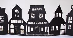 How to make a paper Halloween accordion card with cutting files for Cricut and Silhouette.  Shelf village of haunted houses.
