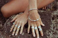 Sea rings and bangles handmade by silversmith Kate Macindoe