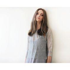 Grey sheer lace long sleeves top