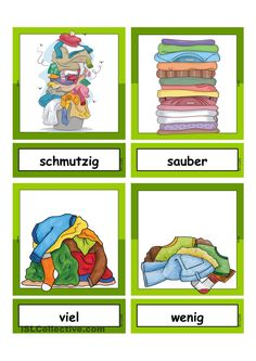 Waschtag_Adjektive _ Flashcards klein Teaching Grammar, Teaching Resources, German Resources, Kindergarten Portfolio, Busy Boxes, German Language Learning, Learn German, Kids Corner, Primary School
