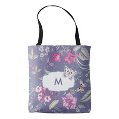 Butterfly and Floral Pattern Background Design with personalized Monogram Gift Tote Bags. Perfect Gift for her for Mother's Day / Birthday / Any Occasion. Matching cards, postage stamps and other products available in the Holiday / Mother's Day Category of the Mairin Studio store at zazzle.com