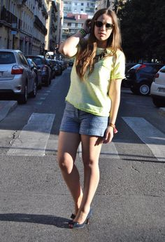 Lights and Shadows  , Uterqüe in T Shirts, H in Shorts, Stradivarius in Heels / Wedges