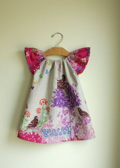 pink spring birds  peasant dress perfect for by noahandlilah, $42.00