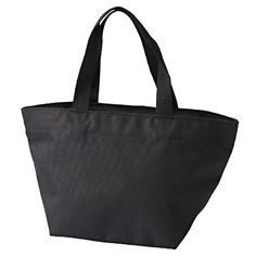 "Polyester Zippered Tote Bag S Black, 8""x14""x6.8"", $15   MUJI"