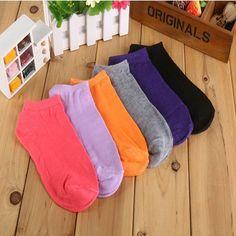 10 Pares = 20 unids/lote Calcetines de Las Mujeres, la Fluorescencia del Calcetín del Algodón, Color Del Caramelo Tobillo de La Manera En Barco Calcetines Cortos, muchos Colores