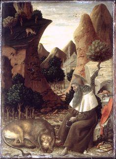 BONO DA FERRARA: ST JEROME IN A LANDSCAPE   about 1440 - Siena/Ferrara - egg tempera on wood - 52 x 38 cm