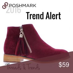 Wine Suede Booties 2016 Trend Alert. Wine suede booties with zipper side closure. Embellished with fringe tassel. Threads & Trends Shoes Ankle Boots & Booties