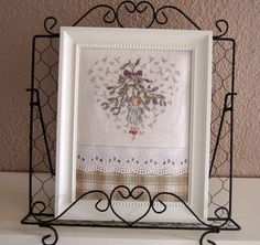 florinette: petite fille cross stitch, lace and plaid