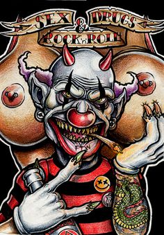 tattoo for female Sex, Drugz and Rock& tattoo for female devil girl tattoo for female Unicorn Tattoo Clown Tattoo, Unicorn Tattoos, Clown Faces, Creepy Clown, Scary Faces, Samurai, Zombie Monster, Evil Clowns, Arte Horror