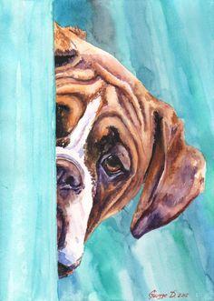 Boxer ORIGINAL watercolor painting Dog warecolor Decor Nice Sweet FREE SHIPPING…
