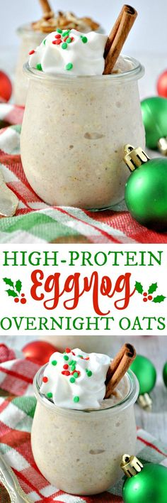 Enjoy a healthy, high-protein breakfast or snack with these easy Eggnog Overnight Oats! (breakfast smoothie recipes with oats) Overnight Oats, Overnight Breakfast, Protein Snacks, Healthy Snacks, Healthy Protein, Protein Recipes, Healthy Breakfasts, Eating Healthy, Healthy Drinks