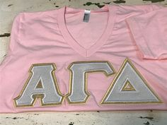 A personal favorite from my Etsy shop https://www.etsy.com/listing/525814474/sorority-double-lettershirt-alpha-gamma