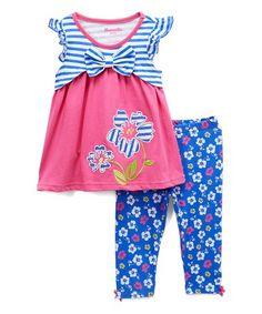 Blush by Us Angels Pink Top/& Blue Leggings 8