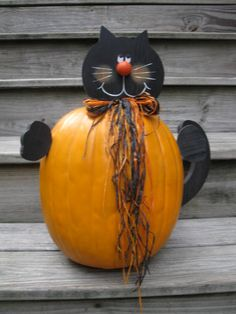 Wooden Cat that goes in a Pumpkin by SweetTeaToo on Etsy, $15.00