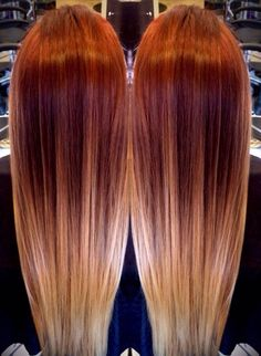Red blonde ombre hair color trends highlights melting to balayage Red Blonde Ombre Hair, Balayage Hair Blonde, Ombre Hair Color, Red Hair With Ombre, Brunette Ombre, Blonde Highlights, Haircuts For Long Hair, Red Hairstyles, Popular Hairstyles