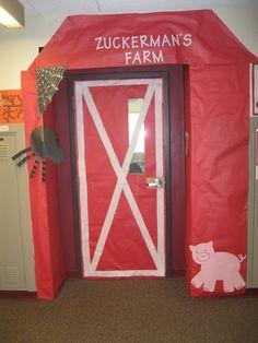 Door decoration for Farm unit. Farm Animal Party, Farm Animal Birthday, Farm Party, Farm Unit, Charlottes Web, Web Themes, Farm Door, Farm Theme, Backdrops For Parties