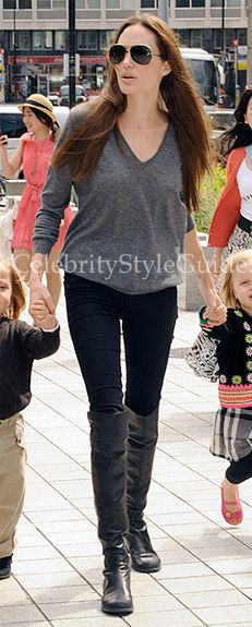 Angelina Jolie and her little ones visit the London Aquarium on July 25, 2011 in London, England.
