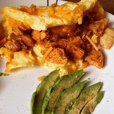 """Creole chicken & shrimp eggbeater omelet with chorizo & onion, half an avocado on the side #lowcarb #lowfat #diabetic friendly"" Photo taken by @thefirehousegourmet on Instagram, pinned via the InstaPin iOS App! http://www.instapinapp.com (09/20/2015)"