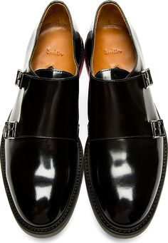 Paul Smith: Black Monk Strap Pitt Shoes