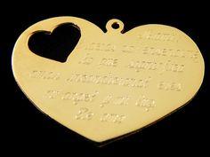 Dije de corazon con grabado, en chapa de oro 14k, medida 4x2.5cm, el grabado se cobra x letra$2.5 por letra, se fabrican sobre pedido, de 3 a 5 días hábiles (también manejamos en baño de plata) Chapa económica $125 garantía de 6 meses Chapa Fina $145 garantía de 1 año Laminado de oro $165 garantía de 5 años