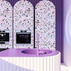 Purple kitchen crazyness by - Stylehome Kitchen Interior, Kitchen Design, Kitchen Decor, Wallpaper Mag, Purple Kitchen, Purple Interior, Vogue Living, Interior Decorating, Interior Design