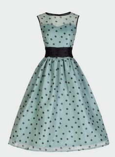 I'd wear this! Pretty polka dots 50's dress from http://www.bitterrootvintage.com/cindy-ethereal-sage-party-dress