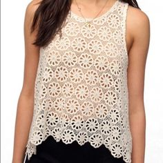 Crochet lace top Urban outfitters/pins and needles cream crochet lace top, great condition only worn once Urban Outfitters Tops