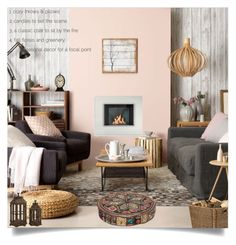 """Cozy By The Firelight"" by loveartrecyclekardstock ❤ liked on Polyvore featuring interior, interiors, interior design, home, home decor, interior decorating, Zentique and OKA"