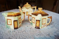 A very sweet vintage 'cottage ware' cream jug and lidded sugar bowl made by the Keele Street Pottery c. 1940. Lovely handpainted detail. by Alexsprettyvintage on Etsy