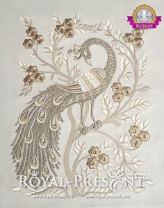 Machine Embroidery Design Peacock Chinese - 3 sizes