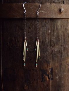 Elegant and unique Porcupine Quill Dangle earrings.