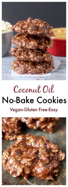 Coconut Oil No-Bake Cookies- A delicious twist on the classic. Vegan, gluten free, dairy free, and so easy!!