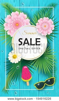 Summer final Sale special offer gift banner. Beautiful exotic flowers frame, ice cream, tropical palm leaves background blue wood texture pattern. For business, voucher, banner, poster graphic design