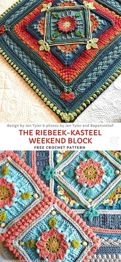 The Riebeek-Kasteel Weekend Block Free Crochet Pattern - Blanket Afghan Crochet - Flowery Afghan Blocks. Blocks within blocks make it easy to play around with the pattern. Crochet Motifs, Crochet Blocks, Basic Crochet Stitches, Afghan Crochet Patterns, Crochet Squares, Crochet Basics, Easy Crochet, Mandala Crochet, Crochet Afghans