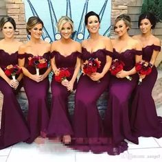 Gorgeous Arabic Burgundy Lace Bridesmaid Dresses 2017 Mermaid Off Shoulder Ruffled Vintage Garden Wedding Guest Maid Of Honor Dress Bridesmaid Dresses With Lace Bridesmaids Dresses Cheap From Aangel, $78.51| Dhgate.Com #vintagemermaid