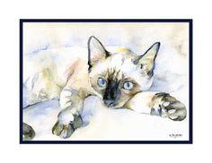 Aquarel blauwogige Siamese kat Notitiekaarten door watercolorwork