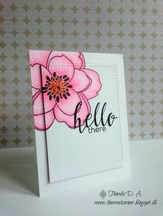 """Beautiful Mondo Magnolia colored in pink Copic markers look great when the outside is cut as a frame and the inside panel is stacked up.  Add a little """"hello there"""" and you have a great handmade card."""