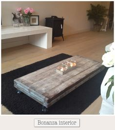 coffee table, rough wood