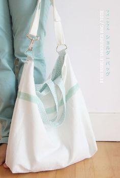 Free tutorial and sewing video - reversible shoulder bag