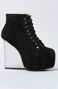 The Dina Shoes in Black Suede by Jeffrey Campbell with transparent glass wedge heels