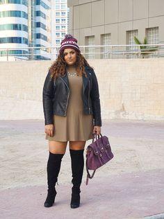 Plus Size Fashion for Women - Plus Size Outfit Idea - Bershka Whatever beanie, Dorothy Perkins leather jeacket, Boohoo Plus khaki dress, Dolce Vita over the knee boots, Rebecca Minkoff Jules satchel