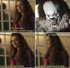 Who else is really excited about IT IT stephenking thatsmile spookycute horroraddict horrormovies horrorlovers horrorjunkie Movie Memes, Funny Memes, Hilarious, It Memes, Thirteen Reasons Why, 13 Reasons, Horror Movies Funny, Scary Movies, Welcome To Your Tape