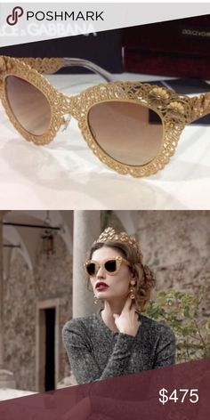 Dolce & Gabbana Runway Filigree Sunglasses Dolce & Gabbana Filigree Sunglasses seen on the runway made in Italy of intricate metal work in gold with flower detailing and gold flash mirror lenses. Accompanied with a certificate of authenticity, velvet case, box, cleaning cloth and spray. Dolce & Gabbana Accessories Glasses