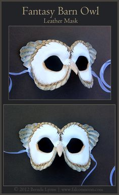 Fantasy Barn Owl Leather Mask by Brenda Lyons - Brenda Lyons Illustration Cosplay Costumes, Halloween Costumes, Kid Costumes, Owl Mask, Bird Masks, Leather Mask, Venetian Masks, Masks Art, Masquerade Party