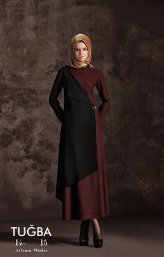 Tuğba '14-'15 Sonbahar / Kış koleksiyonundan E5151 Tuğba Elbise mutlaka deneyin. Tüm Tuğba mağazalarından, satış noktalarından ve tugba.com.tr 'den ürüne ulaşabilirsiniz Hijab Abaya, Hijab Wear, Hijab Dress, Hijab Outfit, Bd Fashion, Abaya Fashion, Modest Fashion, Fashion Outfits, Turkish Fashion
