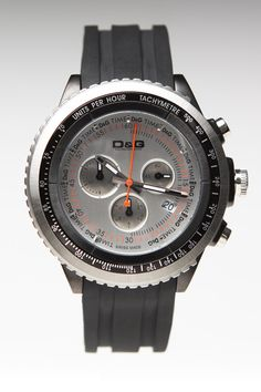 $230 Dolce and Gabbana D & G Sir Stainless Steel Chronograph Quartz Watch Black/White - JackThreads: http://www.jackthreads.com/invite/tobytoby7